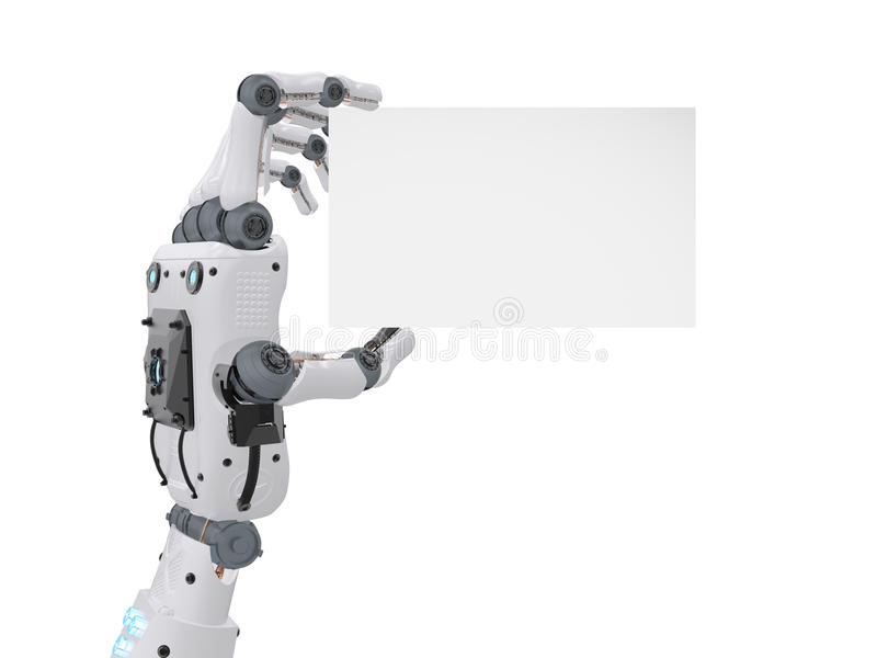 Robot hand holding blank business card vector illustration