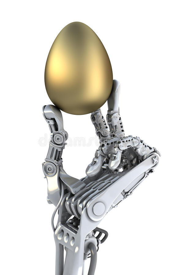 Robot hand holding a golden Easter egg. Conceptual 3d illustration royalty free illustration