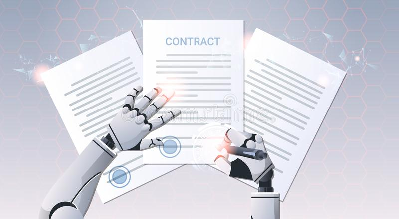 Robot hand holding pen signature document signing up contract humanoid sign agreement top angle view artificial royalty free illustration