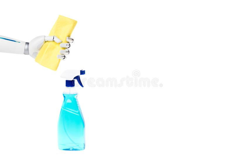 Robot hand holding rag above spray bottle for cleaning. Isolated on white royalty free stock image