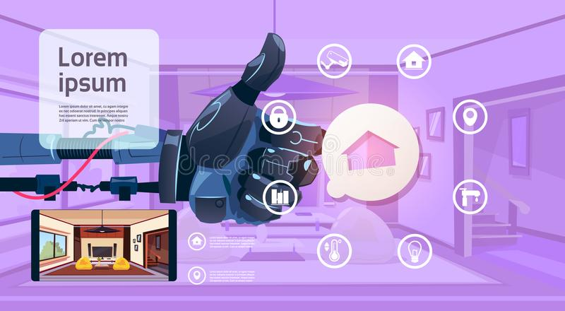 Robot Hand Holding Thumb Up Over Smart House Monitoring Interface Technology Of Home Management Concept. Flat Vector Illustration stock illustration