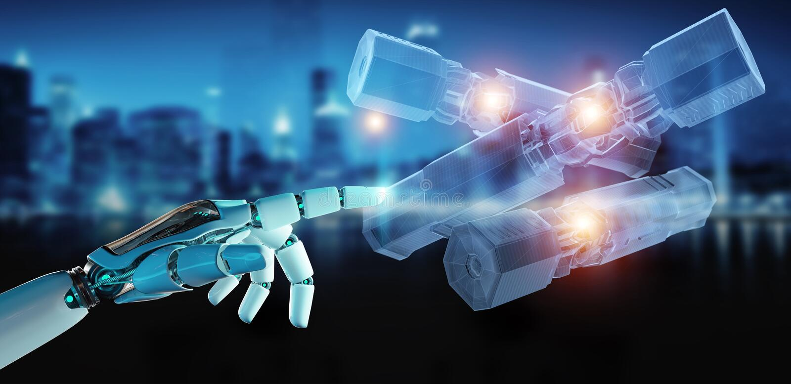 Robot hand holding and touching green renewable energy battery 3D rendering. Robot hand on dark background holding and touching green renewable energy battery 3D stock image