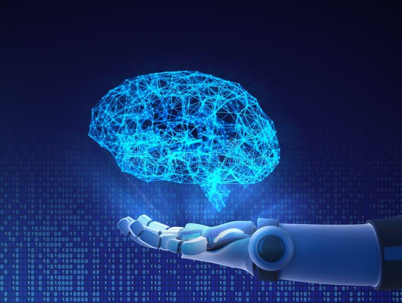Robot hand holding virtual brain. Artificial intelligence royalty free illustration