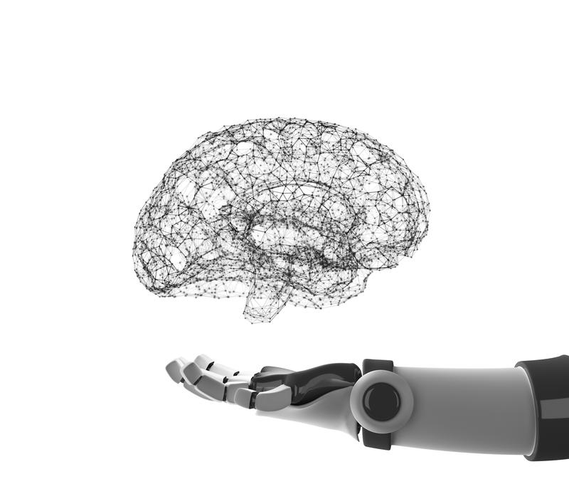 Robot hand holding virtual brain isolated on white. Artificial vector illustration