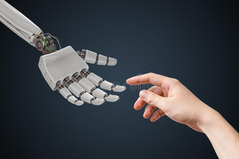 Robot hand and human hand are touching. Artificial intelligence and cooperation concept.  royalty free stock image