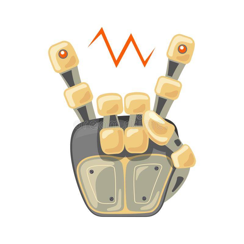 Robot hand. Mechanical technology machine engineering symbol. Cool, good icon. Rock music. Peace. Energy between fingers stock illustration