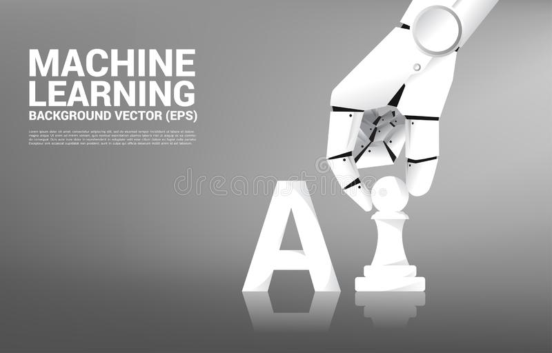 Robot hand move chess piece on board game. Business concept for machine learning and a.i artificial intelligence stock illustration