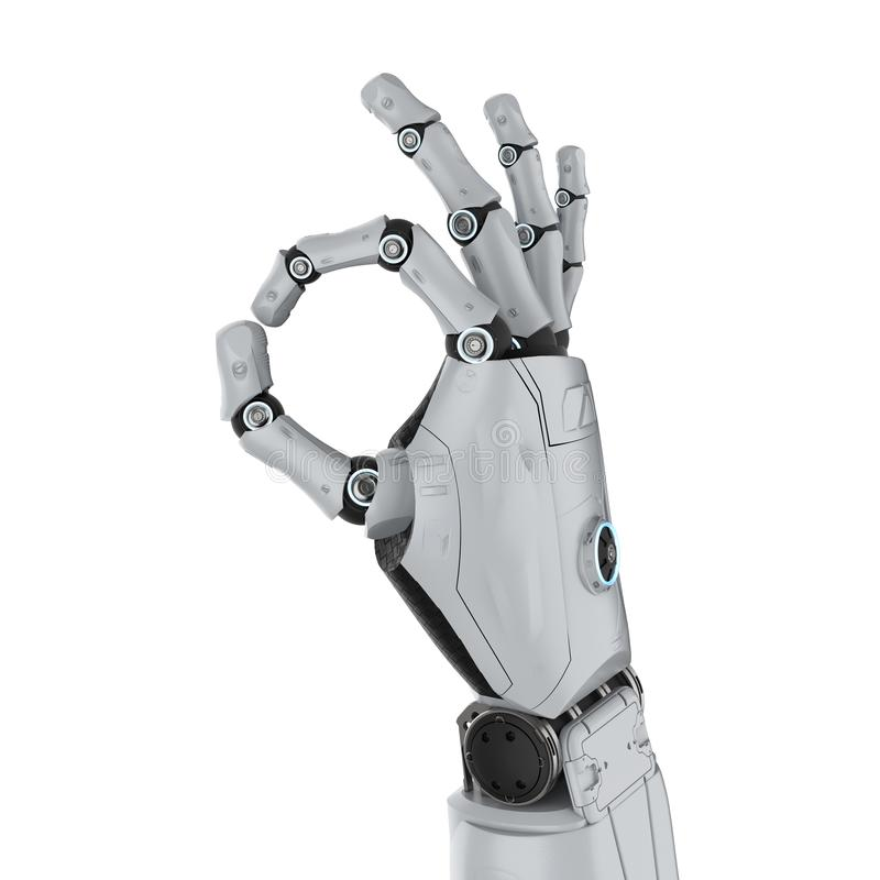 Robot hand ok. 3d rendering robot hand gesture ok isolated on white royalty free illustration