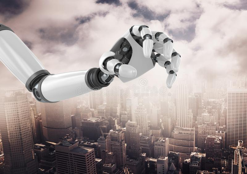 Robot hand over cityscape against cloudy sky. Digital composition of robot hand over cityscape against cloudy sky stock illustration