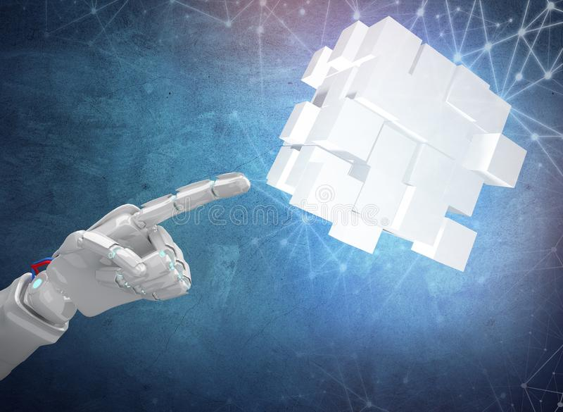 Robot hand point on construction from cubes. 3d rendering vector illustration