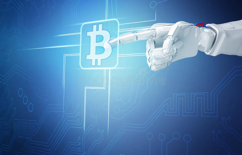 Robot hand point on cryptocurrency digital icon.3d rendering. Robot hand point on cryptocurrency digital icon. Bitcoin concept. 3d rendering stock illustration