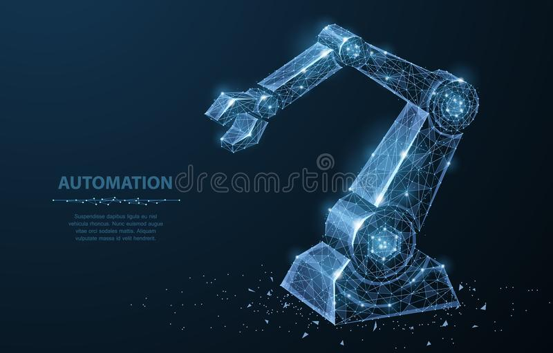Robot hand. Polygonal wireframe mesh looks like constellation on dark blue with dots and stars. vector illustration