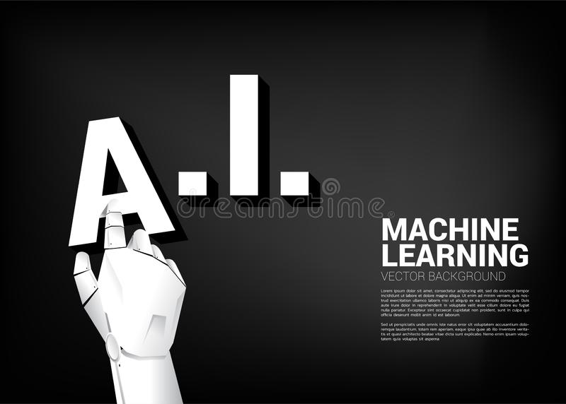 Robot hand put A on AI word. royalty free illustration