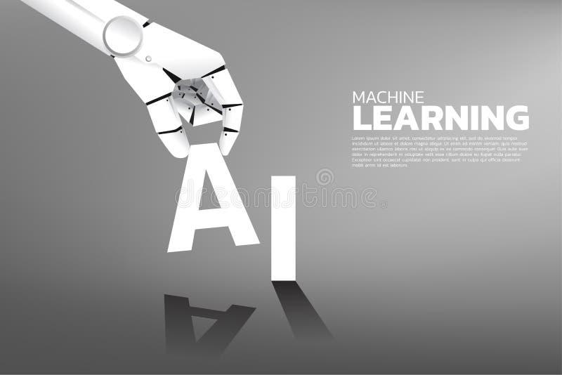 Robot hand put A on AI word. stock illustration