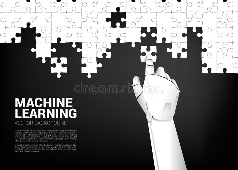 Robot hand put the jigsaw. royalty free illustration