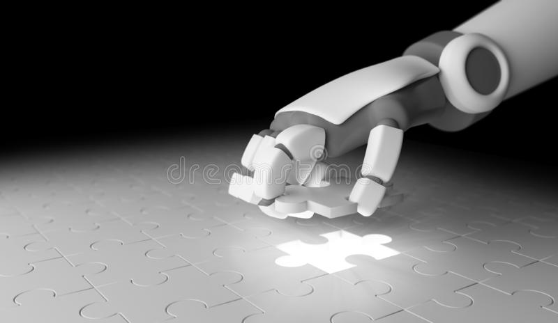 Robot hand putting the last piece of jigsaw puzzle to complete w royalty free illustration