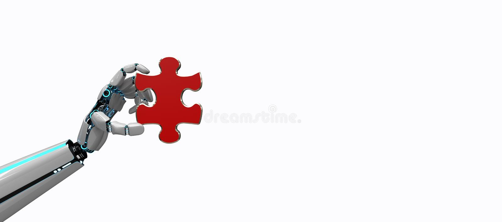 Robot Hand Puzzle. A robot hand with a piece of the puzzle vector illustration