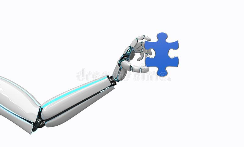 Robot Hand Puzzle. A robot hand with a piece of the puzzle stock illustration