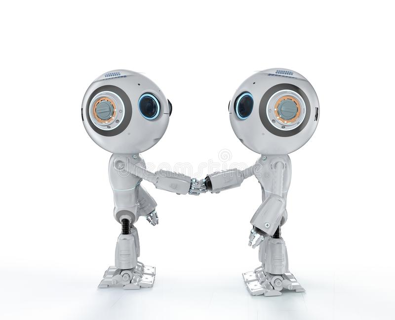 Robot hand shake. 3d rendering mini robot hand shake with another robot vector illustration