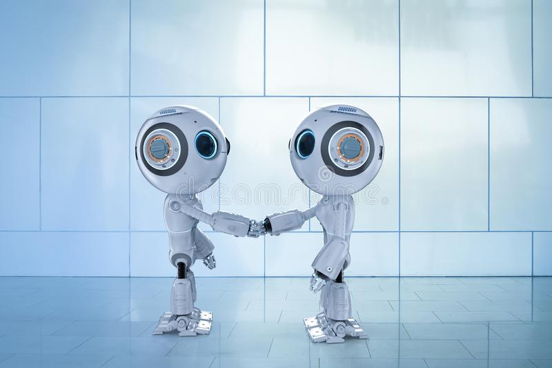 Robot hand shake. 3d rendering mini robot hand shake with another robot royalty free illustration