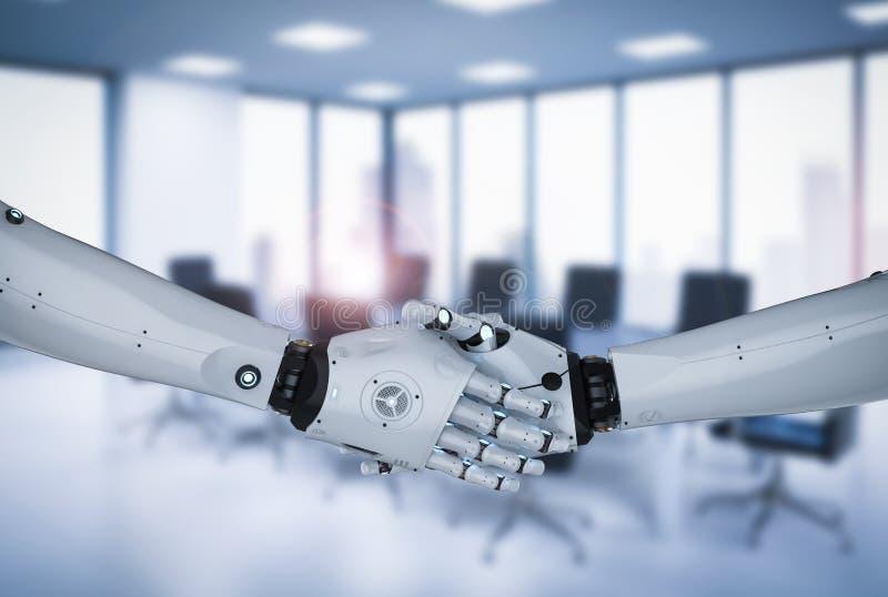 Robot hand shake. 3d rendering robot hand shake on office background stock illustration
