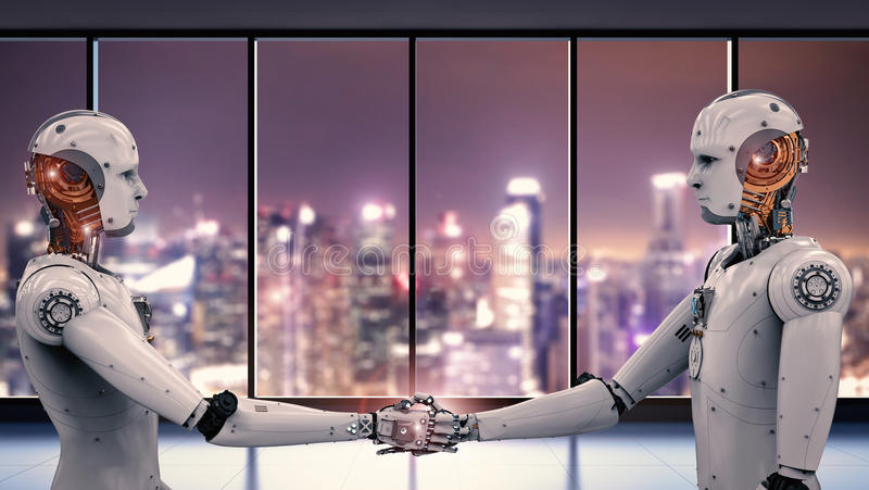 Robot hand shaking. 3d rendering robot hand shaking with cityscape background stock photo