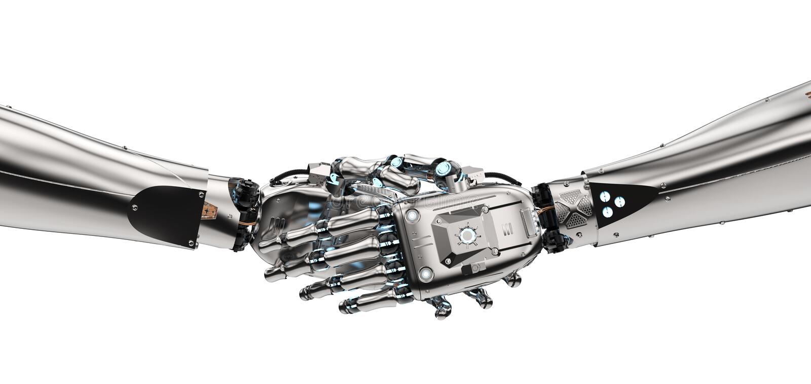 Robot hand shaking royalty free stock photography