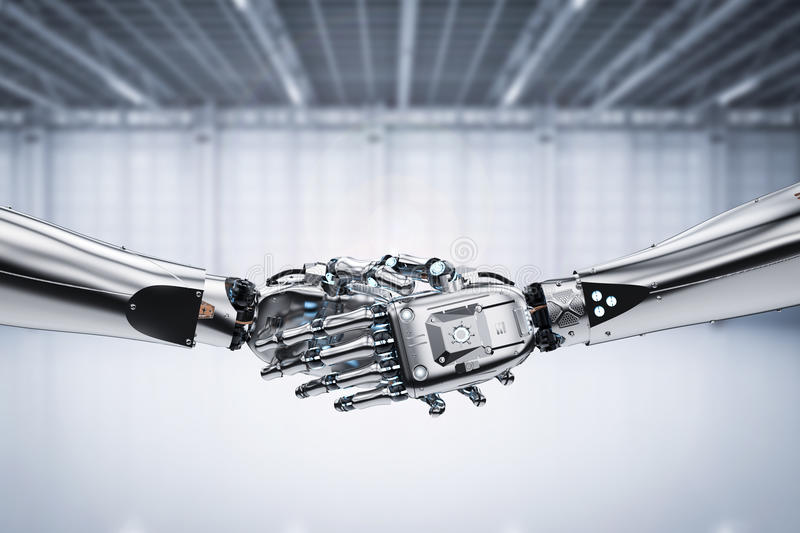 Robot hand shaking. 3d rendering robot hand shaking for partnership concept stock photos