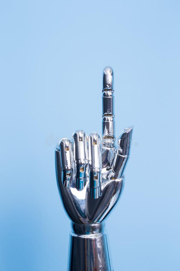 Robot hand show something royalty free stock photography