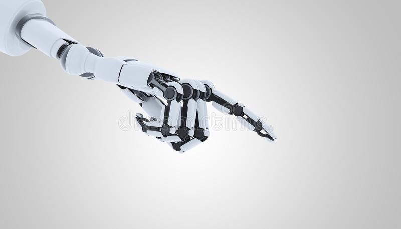 Robot hand showing gesture, isolated on white background. stock photo
