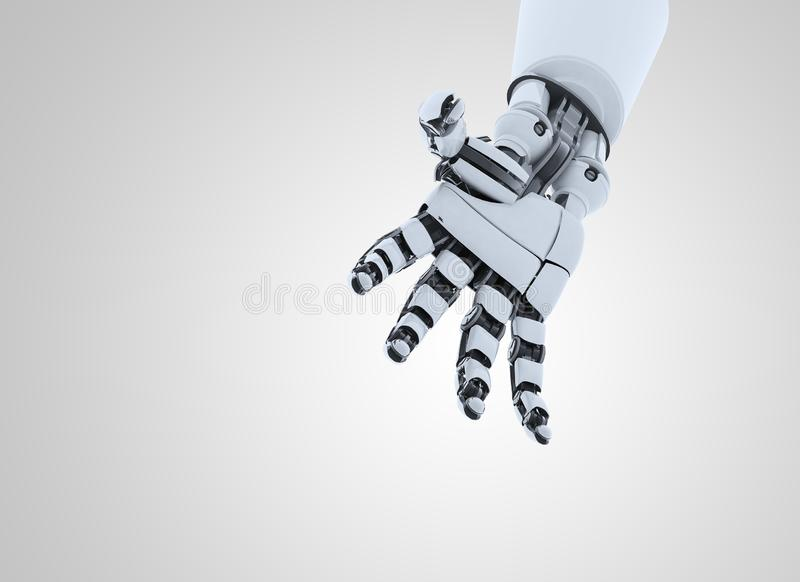 Robot hand showing gesture, isolated on white background. stock photography