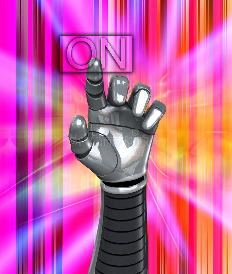 Download Robot Hand Switch On stock illustration. Image of technology - 14401923