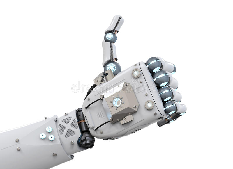 Robot hand thumb up stock images
