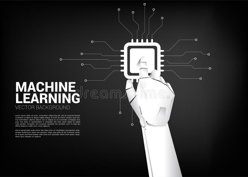 Robot hand touch CPU . Business concept for machine learning and a.i artificial intelligence processor royalty free illustration