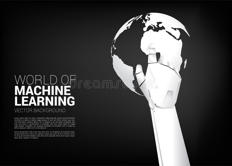 Robot hand touch the finger with world globe. Business concept for machine learning and a.i artificial intelligence vector illustration
