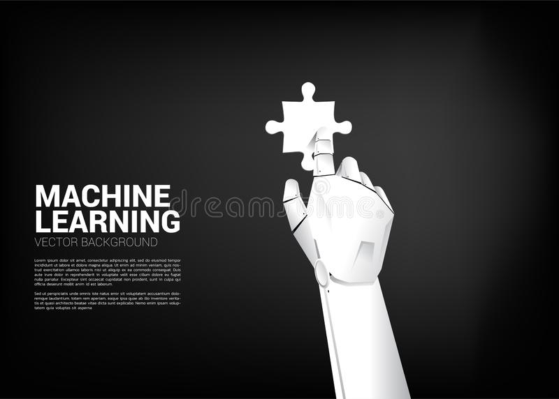 Robot hand touch the jigsaw. stock illustration