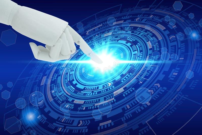 Robot hand touching virtual screen technology, Artificial Intelligence Technology Concept.  stock photo