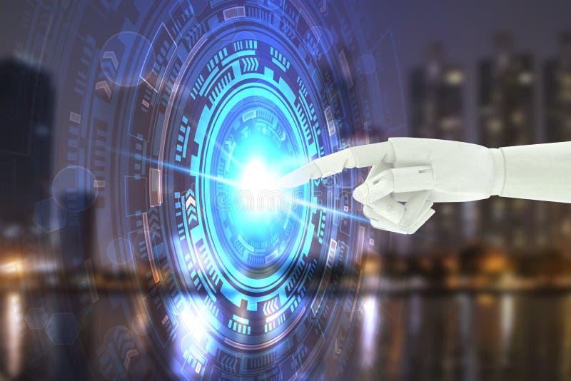 Robot hand touching virtual screen technology, Artificial Intelligence Technology Concept.  stock photos