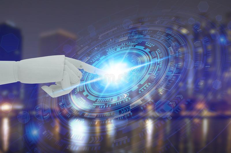 Robot hand touching virtual screen technology, Artificial Intelligence Technology Concept.  royalty free stock photos