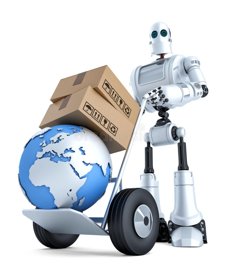 Robot with hand truck and stack of boxes. . Contains clipping path royalty free illustration