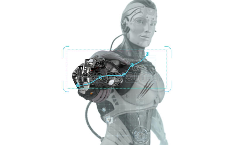 Robot hand working with virtual interface. Artificial hand touching screen. Futuristic robot working with virtual hud interface. Electronic buciness concept art vector illustration