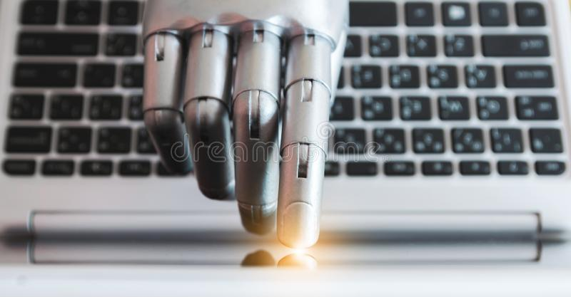 Robot hands and fingers point to laptop button advisor chatbot robotic artificial intelligence concept with light royalty free stock photos