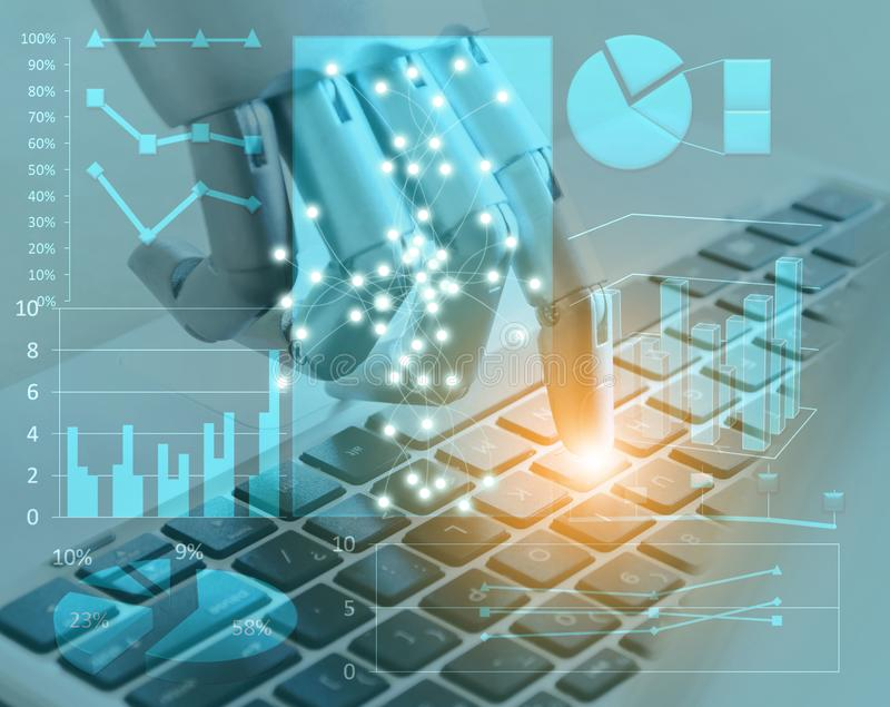 Robot hands and fingers point to laptop digital button advisor chatbot robotic artificial intelligence. Concept stock photography