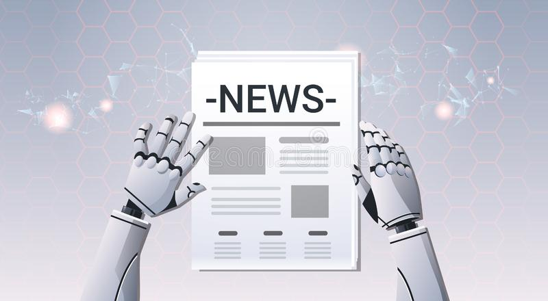 Robot hands holding newspaper humanoid reading daily news top angle view artificial intelligence digital futuristic stock illustration