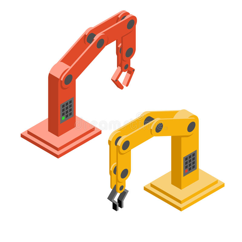Robot hands. Industrial robotic arms stock illustration