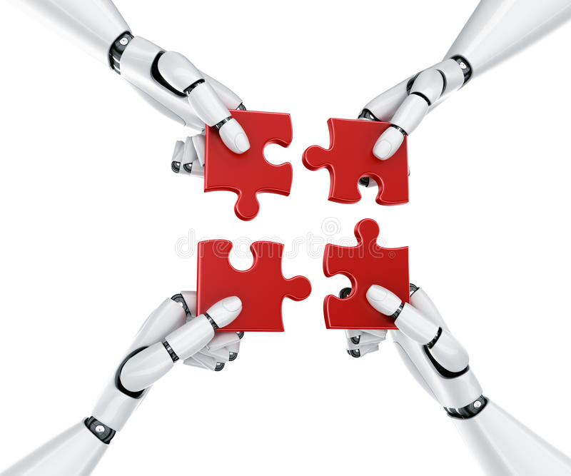 Robot hands with puzzle pieces. 3d rendering of 4 robot hands holding a puzzle piece royalty free illustration