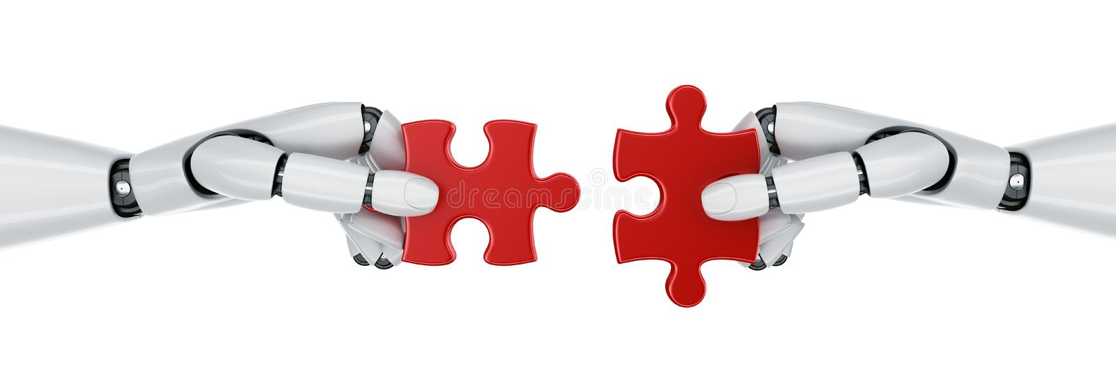 Robot hands with puzzle pieces. 3d rendering of a two robot hands holding a puzzle piece stock illustration