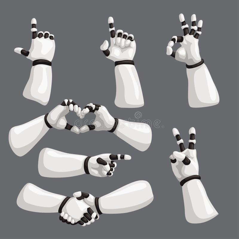 Robot hands set on grey background royalty free illustration