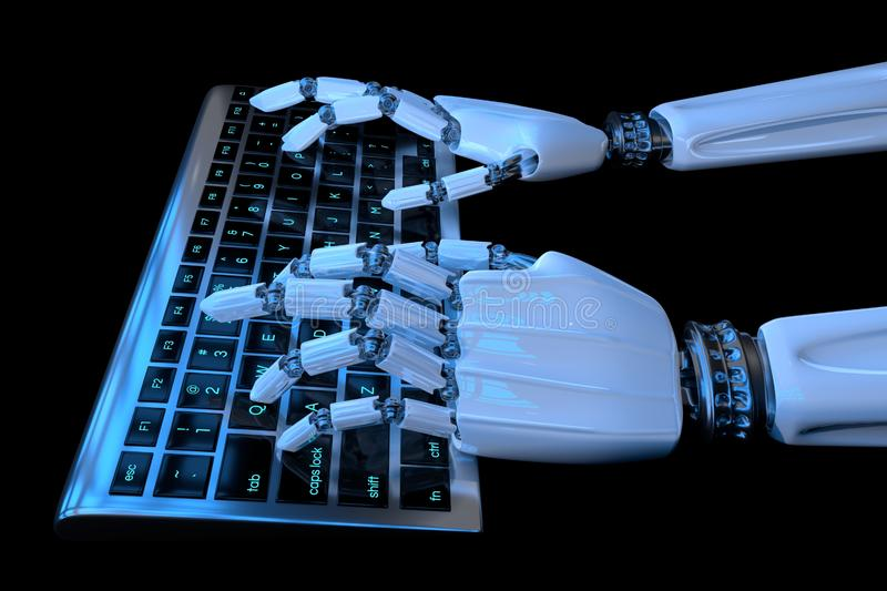 Robot hands typing on the keypad in dark background. Robotic arm cyborg using computer. 3d render realistic illustration vector illustration