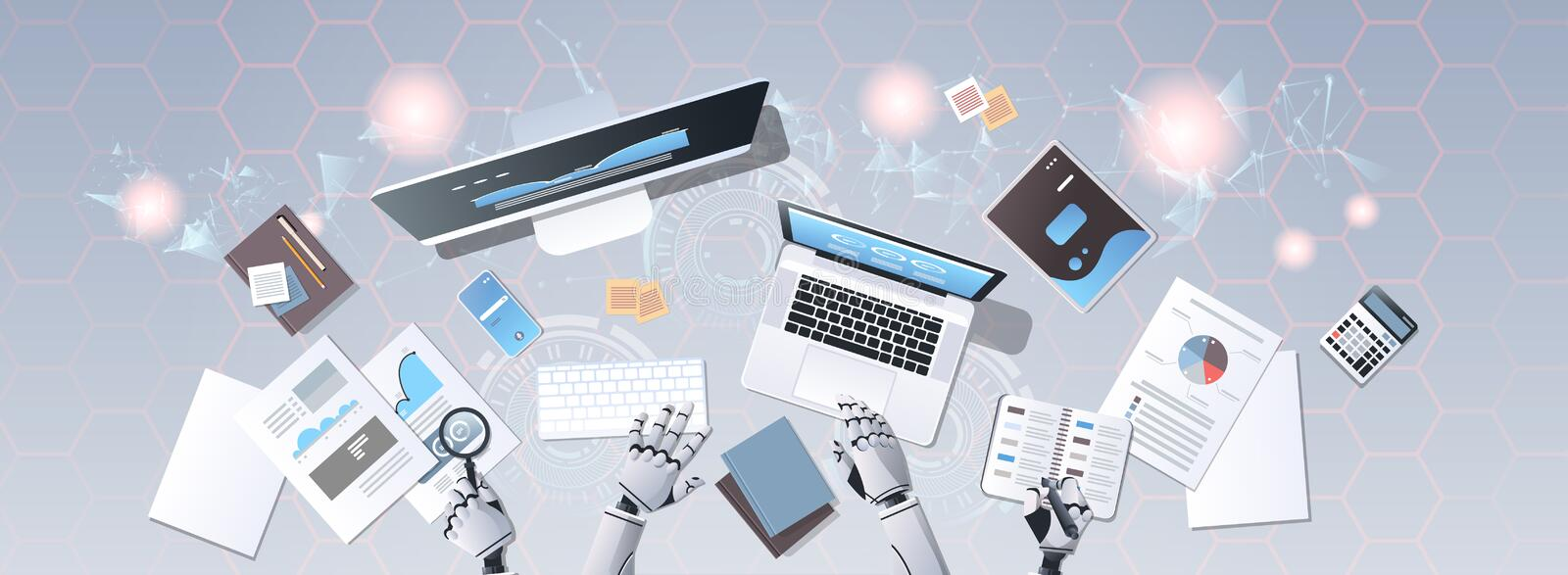 Robot hands using digital devices at workplace desk office stuff working process top angle view artificial intelligence royalty free illustration